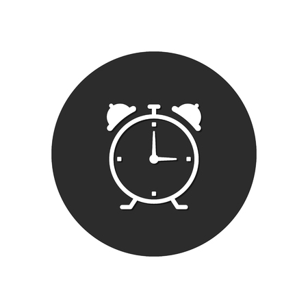 Alarm clock round icon. Wake up alarm button. Vector.