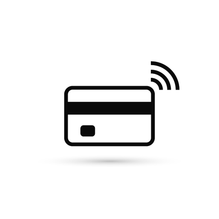Contactless credit card icon, card with radio wave sign, bank card payment isolated icon, vector. Illustration