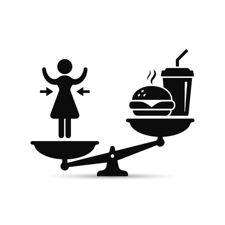 Woman and fast food on scales, vector losing weight concept, lose weight versus fast food illustration.