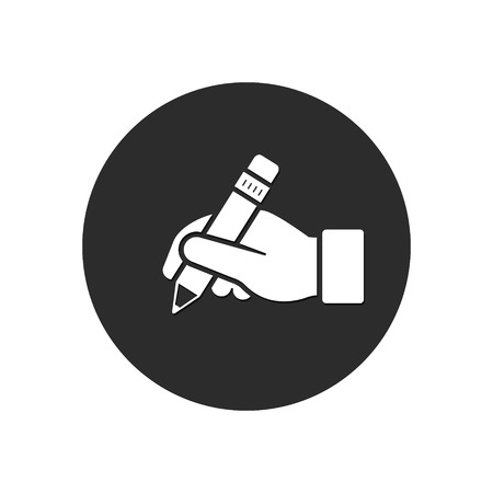 Hand hold pencil icon. Vector isolated button.