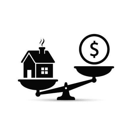 Money and house scales icon. Money and house balance on scale concept. Real estate sale. Vector isolated sign.