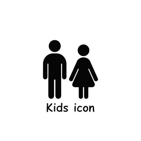 Kids icon, girl and boy icon isolated on white background. Vector children symbol.
