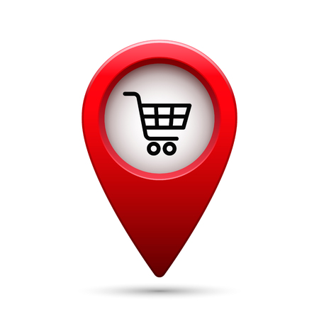 Map pointer with shopping cart icon. Vector isolated illustration.
