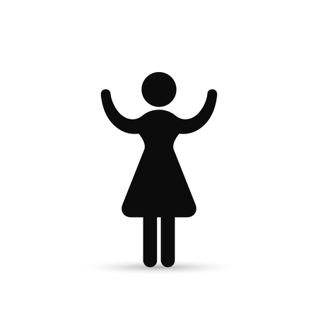 Business Woman Raised Hands Silhouette Hold Up Arms, Vector icon, isolated Illustration.
