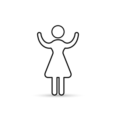 Business Woman Raised Hands Silhouette Hold Up Arms, Vector outline icon, isolated line Illustration.
