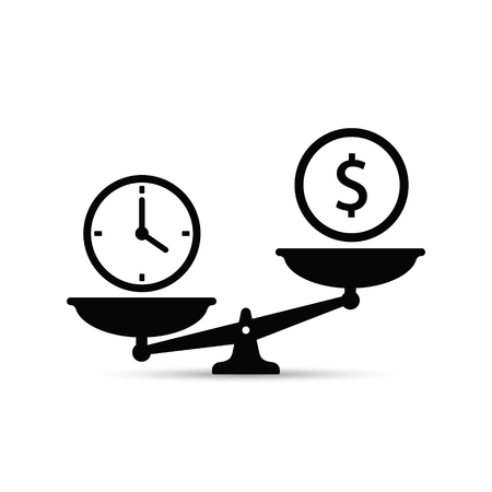 Time and money on scales icon. Money and time balance on scale. Weights clock and coin. Vector concept isolated sign.