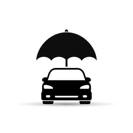 Insurance of car icon, umbrella and car illustration. Vector. Illustration
