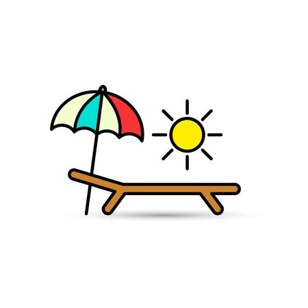 Deck-chair, sun and umbrella on a beach Vector.