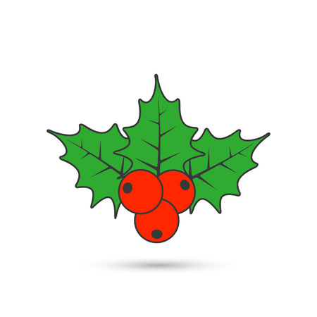 Christmas mistletoe flat icon. Vector color holly berry icon. Illustration