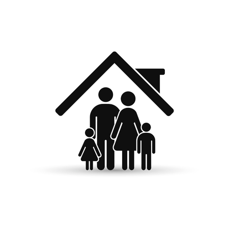 Family inside the house icon. Vector isolated illustration.