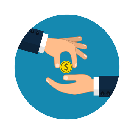 Hand giving money to other hand illustration in circle.