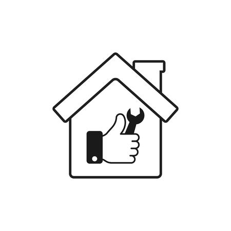 Icône de réparation de maison. Emblème ou logo isolé de vecteur. Logo