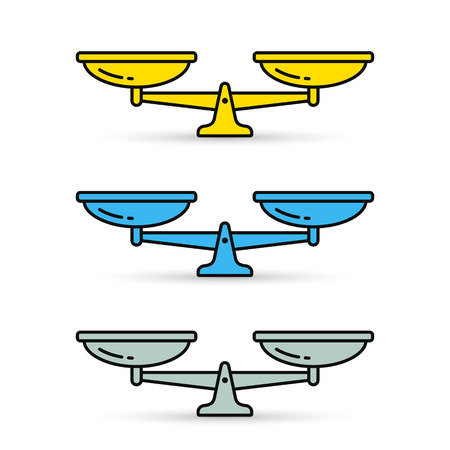Scales color Icon set. Vector isolated simple flat illustration.