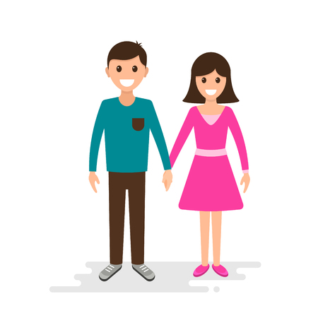 Happy Couple, Guy holding the girl's hand. Illustration
