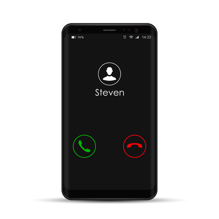 Smartphone with incoming call on display, vector isolated mobile phone realistic illustration.