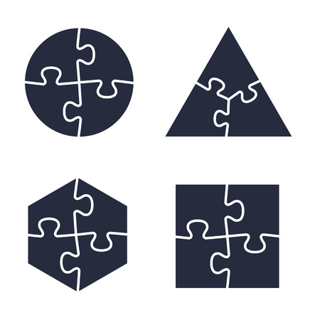Puzzle icons collection, vector isolated black illustration. Illustration