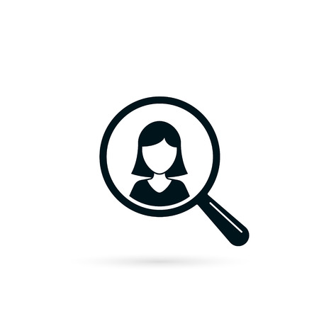 Search for woman resource icon. Looking for employee worker. Search female vector icon. Magnifying glass with girl.