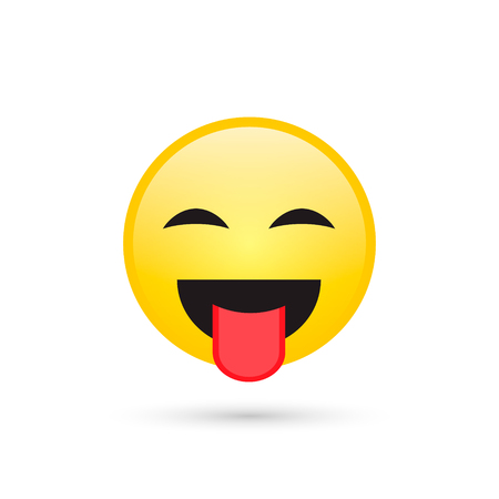 Smile Emoticon isolated on white background, smiling face with stuck-out tongue, vector illustration.