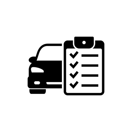 Car service list icon. Checklist car servise maintenance icon. Vector illustration.