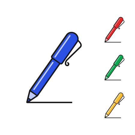 Pen color icon set, vector isolated symbol. Flat design.