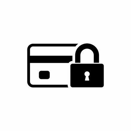 Credit Card with lock icon. Locked bank card illustration. Vector. Иллюстрация