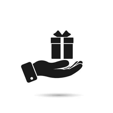 Gift in hand icon. Vector isolated illustration.