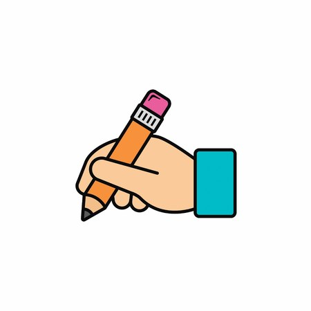 Hand hold pencil icon. Hand writing icon. Vector color illustration.  イラスト・ベクター素材