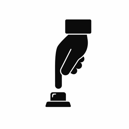 Hand press button icon in flat style. Vector black illustration.