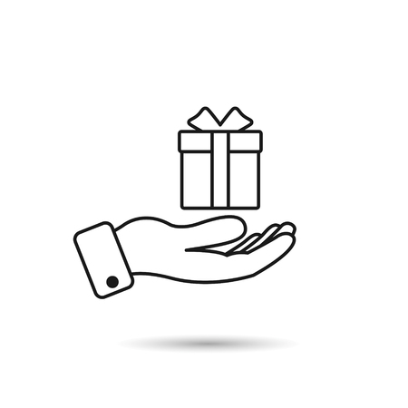 Gift in hand line icon. Vector isolated outline illustration. Illustration