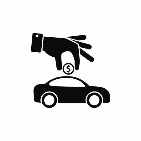 Hand insert coin to car. Vector simple illustration of investing money in the car.
