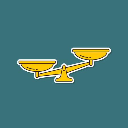 Scales sticker icon. Vector scale symbol isolated illustration. Vettoriali
