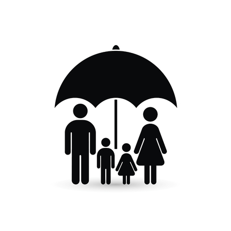 Family under umbrella icon. Family protect vector icon.