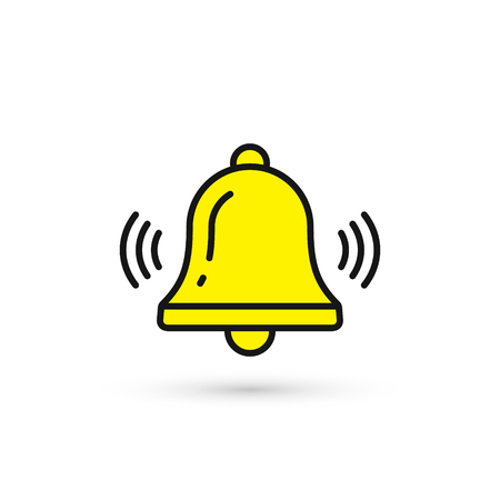 Bell icon vector, Alarm, handbell yellow isolated sign in flat style. Illustration