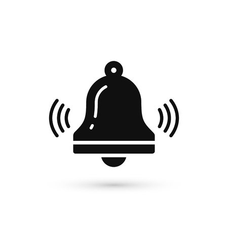 Bell icon vector, Alarm, hand bell sign in trendy flat style isolated on white background. Иллюстрация