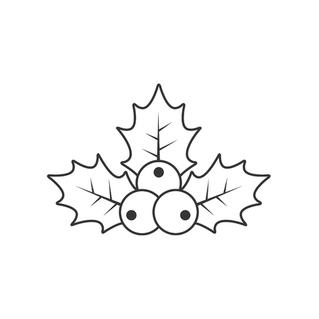 Holly berry Christmas outline icon. Vector contour illustration.
