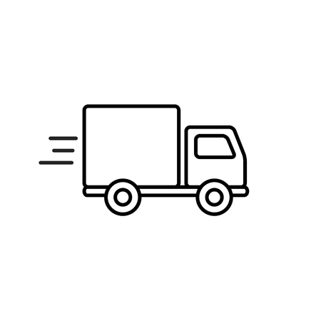 Delivery truck outline icon in flat style