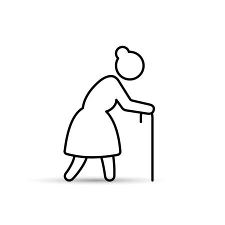 Old woman icon outline vector illustration