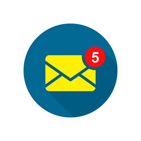 New incoming message icon on round background. Envelope with notification. Vector flat email web illustration.