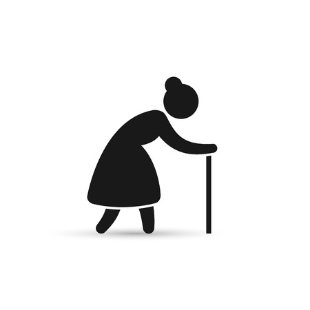 Old Woman Icon. Grandmother silhouette vector icon.