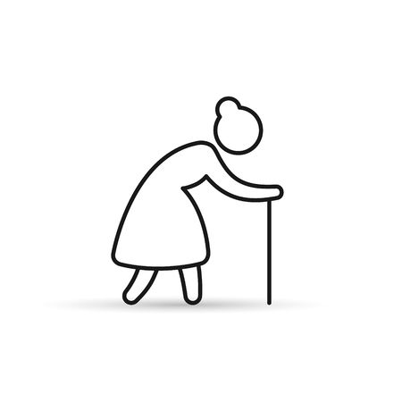 Old Woman line Icon. Grandmother outline vector icon.