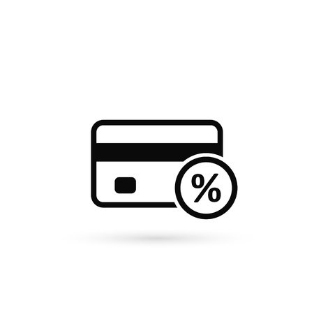 Credit card payment percent icon. Vector isolated illustration.