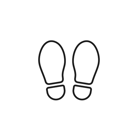 Footprint outline icon isolated on white background. Vector shoe print line illustration.