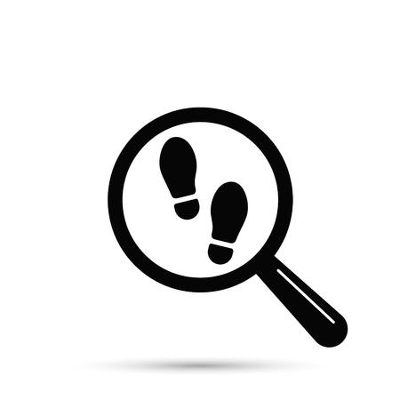 Voetafdruk zoeken pictogram, vector geïsoleerde vlakke afbeelding met vergrootglas en schoenafdruk. Stockfoto - 97601550