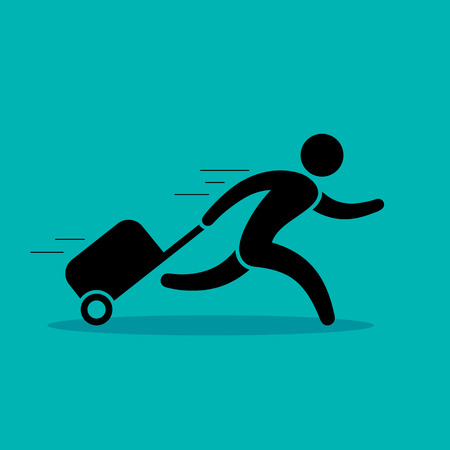 Man is running with a bag, hurrying to the transport. Vector color illustration isolated on blue. Illustration