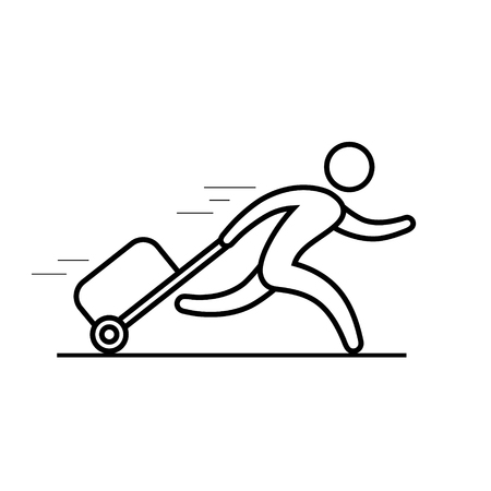 Man is running with a bag, hurrying to the transport, outline icon Vector line illustration.