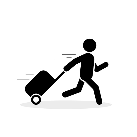 Traveler is running with bag icon, hurrying to the transport concept Vector flat illustration. Vectores