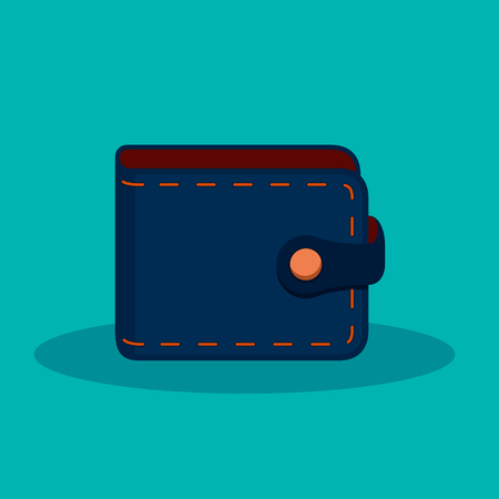 Wallet color Icon in trendy flat style isolated on blue background Vector symbol. Ilustração