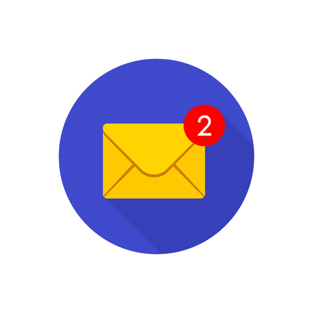 New incoming messages icon with notification in circle. Envelope with incoming message. Vector symbol. Illustration