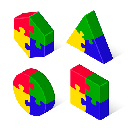 Puzzle 3d geometric isometric figure collection, three-dimensional vector isolated color illustration.