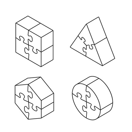 Puzzle 3d geometric isometric line figure collection, three-dimensional vector isolated outline illustration.